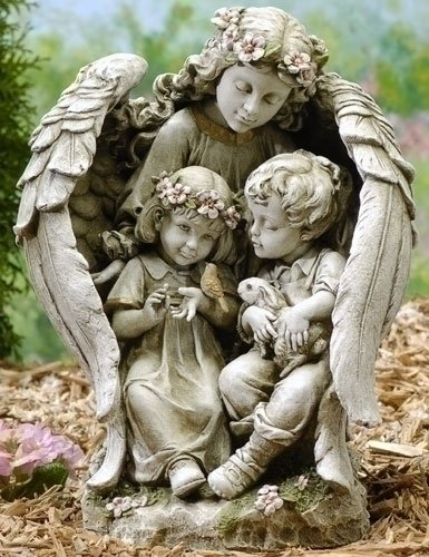 Angel With Children Outdoor Figure