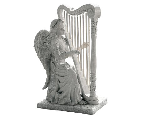 angel playing the harp garden statue