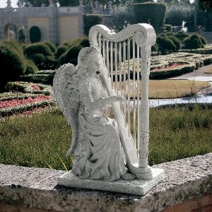 Angel Playing Harp Sculpture