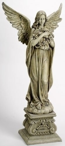 "48"" Joseph's Studio Celestial Angel Holding Wreath Outdoor Garden Statue"