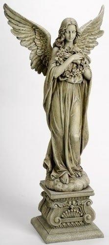 "48"" Joseph's Studio Celestial Angel Holding Wreath Outdoor Garden Statue"