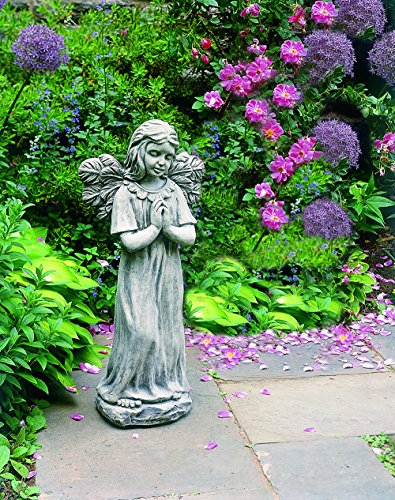 Adorable Praying Girl Angel Statue in Alpine Stone