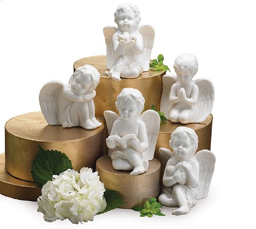 Adorable White Porcelain Angels Figurines